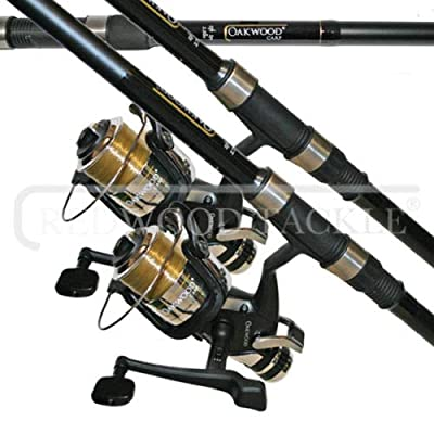 Oakwood 2 X CARP STALKER FISHING RODS 6FT & 2 B,T,R COARSE FISHING REELS + LINE