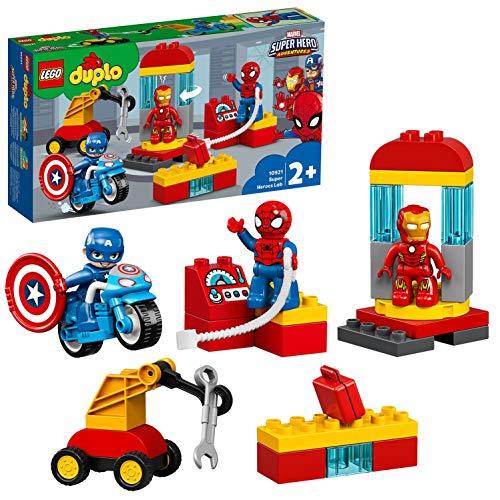 LEGO DUPLO Super Heroes Il Laboratorio dei Supereroi, Set di Costruzioni Ricco di Dettagli per Bambini 2+ Anni, con 3 Personaggi: Iron Man, Spider-Man e Captain America, più Veicoli e Accessori, 10921