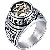 Jude Jewelers Stainless Steel Jerusalem Stat of David Black Onyx Singet Ring (Silver, 7)