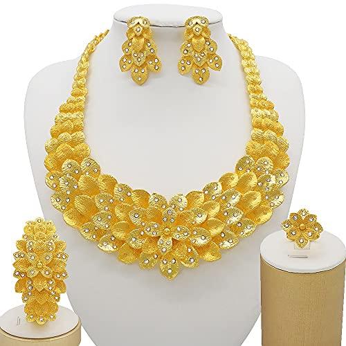 QXZ-WOLFBERRY Nigeria 24k Conjuntos de Joyas de Color Dorado para Mujeres Collar de Lujo Pendientes Pulsera Anillo India Regalos de Boda africanos Conjunto de Etiopía (Metal Color : BJ856 2)