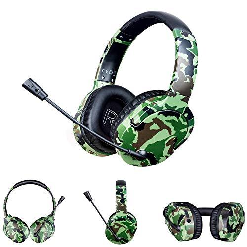QUANXI Headset Gamer sem fio com microfone,Fone de ouvido sem fio com microfone virtual 7.1 canais, graves surround, fones de ouvido com cancelamento de ruído para jogos (Preto)