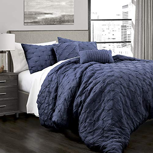 Lush Decor 16T001912 Ravello Shabby Chic Style Pintuck Navy 5 Piece Comforter Set with Pillow Shams, King