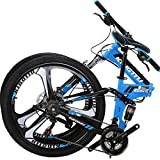 OBK G4/G6 26' Full Suspension Folding Mountain Bike 21 Speed Bicycle Men or Women MTB Foldable Frame (KT-B)