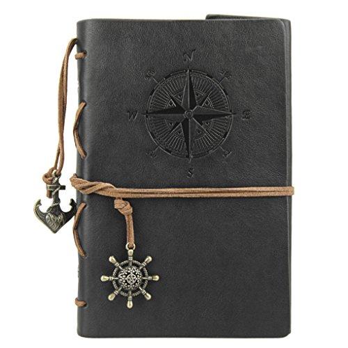 Liying Retro Skizzenblock Tagebuch Notizbuch Softcover DIN A5 Kraftpapier Blanko Geschenkbucher Reisetagebuch Schwarz