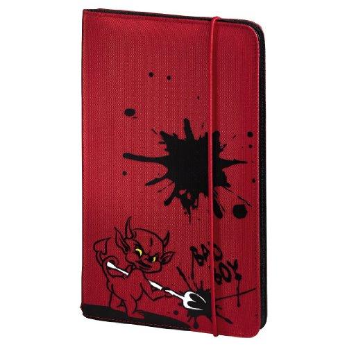 Hama CD Tasche Up to Fashion (für 48 Discs, CD / DVD / Blu-ray / Hörbücher, Mappe zur Aufbewahrung, platzsparend für Auto und Zuhause, Mit Teufel Motiv) Rot