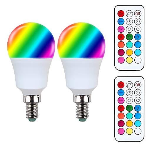 Akaiyal E14 RGBW LED Birne G45 3W Kaltweiß RGB 12-Farbwechsel SES E14 A45 Lampe 2 Modus für Stimmung Beleuchtung 2-Pack MEHRWEG