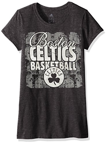 adidas NBA Boston Celtics Adult Women Dimple Texture Shine Cap Sleeve Tee, Medium, Black