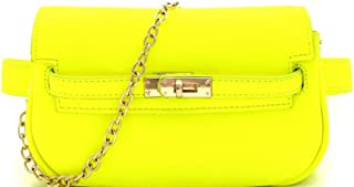 Classy Trendy Twist Lock 2 Way Small PU Leather Neon Color Fanny Pack Belt Bag Chain Cross Body Purse