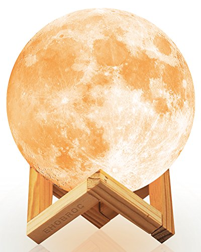 Ehobroc Moon Lamp, 3D Printing Moon Globe Light 5.9 Inch Glowing Moon Lamp Tap Change 3 Colors...