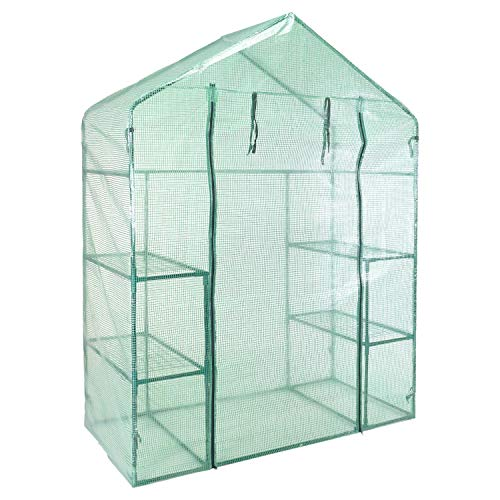 idooka Greenhouse Walk-in Grow House in Green-4 Raised Plant Shelves on Metal Frame in PE Plastic Polytunnel Tent-for Garden, Patio, Balcony-Gardening Protection for Outdoor Plants from Cold/Cats/etc
