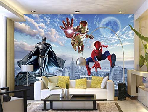 Benutzerdefinierte 3d-fototapete Batman Iron Man Tapete Spider Man Wandbilder Jungen Schlafzimmer Wohnzimmer Tv Hintergrund Wand Raumdekor Breite200cm * Höhe200cm