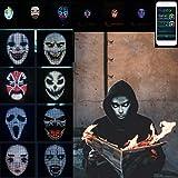 Halloween Light Up Maschera, Bluetooth Viso Variabile Maschera, App Controlled Maschera LED, Supporto Fai da Te Immagine/Testi E Musica Ritmo Festival Cosplay Prop,Rechargeable