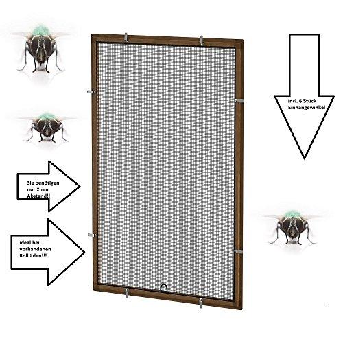 Fliegengitter- Fenster- Mücken- Insektenschutz- Alu- Braun optimal für Rolläden (100cm x 120cm, 16mm Einhängewinkel)