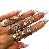 Cathercing - Juego de anillos para mujer, diseño de nudillos, estilo bohemio tallado, estilo vintage, color plateado