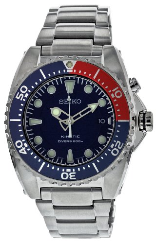 Seiko Men's SKA369 Kinetic Diver's Blue Dial,...