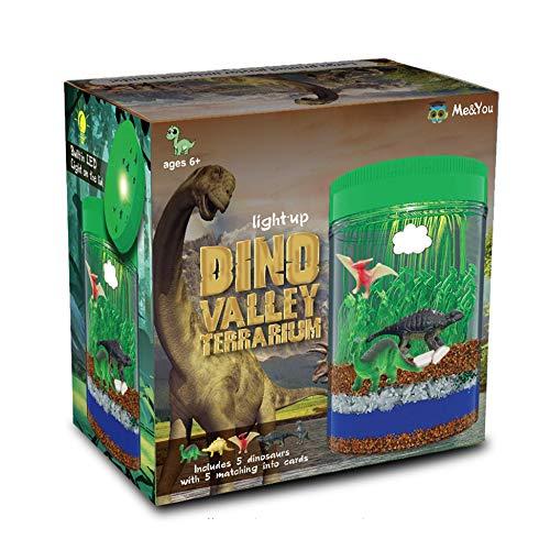 Light-Up Terrarium Kit for Kids with 5 Dinosaur Toys, STEM Educational DIY Science Project - Create...