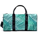 Bolsa deportiva para gimnasio, diseño de hojas de palma, color turquesa y azul turquesa y aguamarina ligera, bolsa de hombro, bolsa de viaje, bolsa de viaje para hombres y mujeres