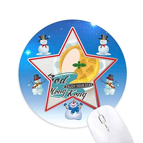 Hong Kong Udon Nudeln China Snowman Maus Pad Round Star Mat