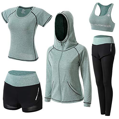 BOTRE Damen Traingsanzug Yoga Kleidung Anzug 5er-Set Sportanzüge Jogginganzug Gym Fitness Kleidung Laufbekleidung Sportswear Sport Yoga Outfit Damen BH Leggings Set (Grün, Large)