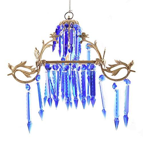 IndianShelf Handmade Blue Glass and Crystal Chandelier Celling Lamp Indian Online Designer