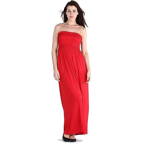 92c2b0e5bd Womens Sheering Bandeau Boobtube Gather Strapless Summer Beach Maxi Dress  8-22