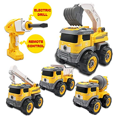 KELIWOW Take Apart Toys with Electric Drill | Converts to Remote Control Car | 4 in 1 Construction Trucks Toys for Boys Girls Kids 3 4 5 6 7+ Years Old | Gift Toys Kids Stem Building Toy