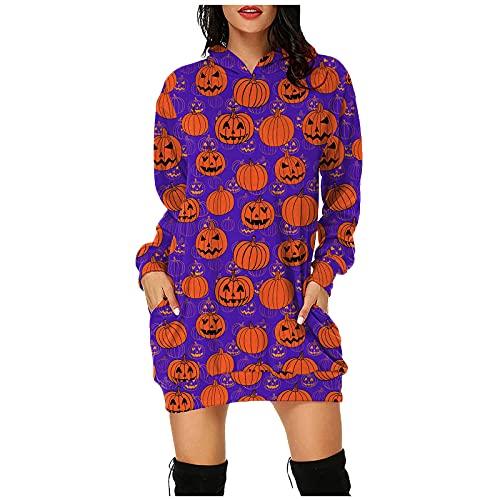 Vestido con capucha para Halloween, vestido de fiesta con capucha, manga larga, suelto, para Halloween, con bolsillos, elegante para boda, vestido de noche, corto, minivestido, morado, L