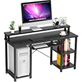 NOBLEWELL Computer Desk with Monitor Stand Storage Shelves Keyboard Tray,47' Studying Writing Table for Home Office (Black)…