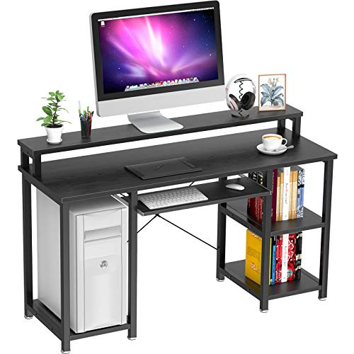 """NOBLEWELL Computer Desk with Monitor Stand Storage Shelves Keyboard Tray,47"""" Studying Writing Table for Home Office (Black)…"""