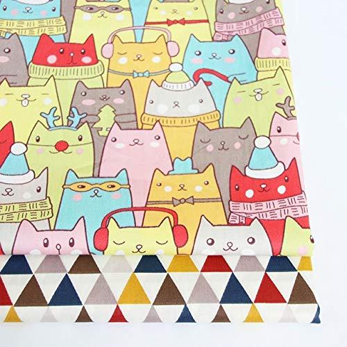 AIREQN 2PCS Dinosaures, Fox Cartoon Twill imprimé 100% Coton Tissu for bébé à Coudre Quilt Fat Quarters Enfant Bricolage Patchwork Tissu (Color : A002, Size : 50x40cm)