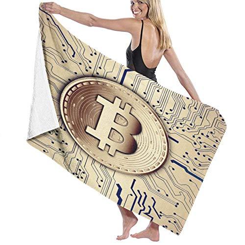 Grande Suave Toalla de Baño Manta,Base de Datos distribuida de Nodos Redondos de Moneda Bitcoin Virtual cifrada digitalmente Pobre,Hoja de Baño Toalla de Playa por la Familia Viaje Nadando,52' x 32'