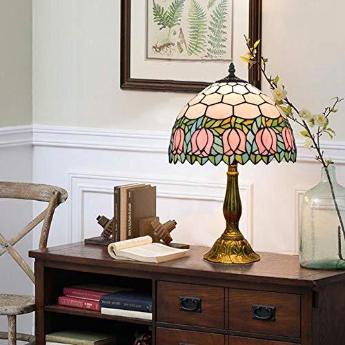 Tiffany Stil Tischlampe 12 Zoll Rosa Tulpe Buntglas Lampe Töne Antike Dekoration Schreibtischlampe für Wohnzimmer Schlafzimmer Handgemachtes Geschenk