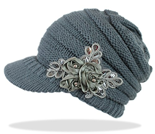 dy_mode Schirmmütze Damen Mütze Strickmütze warme Wintermütze mit Spitzen Pailletten Verzierung - A082 (A082-Dunkelgrau)