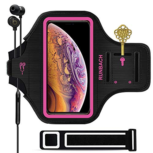 RUNBACH iPhone 11/iPhone XR Armband, Sweatproof Running Exercise Bag with Fingerprint Touch and Card Slot for 6.1 Inch iPhone 11 /iPhone XR (Pink)