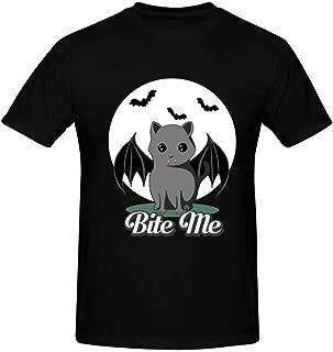 Halloween Bat Cat T Shirt Short Sleeve Crewneck Sports Tee Top for Men's