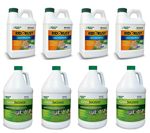 Pro Products Pack Rid O' Rust Stain Preventer and GrassSoGreen Liquid Fertilizer, 8 Bottles Total