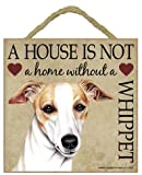 """Whippet Gift - Plaque 5"""" x 5"""" 'House is not a Home' - Hang it or Stand it on the easel."""