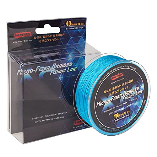 Capt Jay Fishing Braided Fishing Line, Super 8 Strands Micro-Fiber Braided Lines, Abrasion Resistant,Ultra Strong ,Extra Thin Diameter. (Saltwater Blue, 100Lb(45.4KG) 0.52mm-330yds(300M))