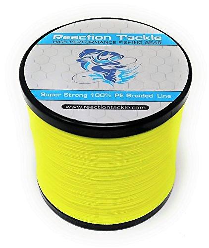 Reacción Tackle Sedal de Pesca Trenzado de Alto Rendimiento, Amarillo Fluorescente