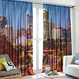 hengshu United States Shower Curtains, Raleigh North Carolina USA Express Way Business District Building Skyscrapers, for School, Multicolor, W108 x L84 Inch,