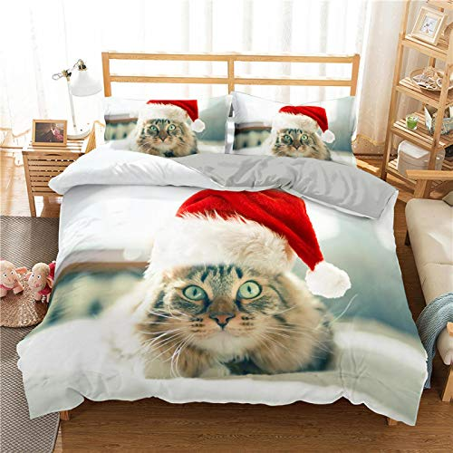XTQDM Bedding set,2/3Pcs Bedding Set 3D Cat Printing Bedclothes Duvet Cover Bedding Decor Bedding Sets Single/Twin/Full/Queen/King Size USTwin173x218cm QWER83-1