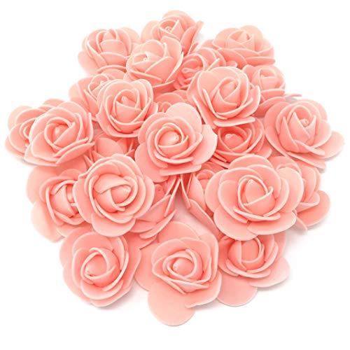 Roses décoratives en mousse de 30 mm pour loisirs créatifs, Pêche claire, Mousse, rose, 30mm