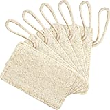 BOSSTER Dishwash Loofa 6 Pieces Natural Loofah Sponge Rectangular Shaped Dish Scrubber Pad with Rope for Kitchen Dish Cleaning