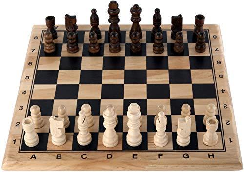Engelhart - 150235-150236- Schachspiel und Dame Birkenholz - 30 cm x 30 cm - Massivholz-Spielbrett - komplettes Spiel mit Stücken - ab 6 Jahren (Schach)