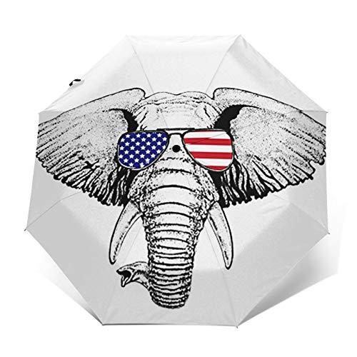 Regenschirm Taschenschirm Kompakter Falt-Regenschirm, Winddichter, Auf-Zu-Automatik, Verstärktes Dach, Ergonomischer Griff, Schirm-Tasche, Amerika Elefant Tattoo