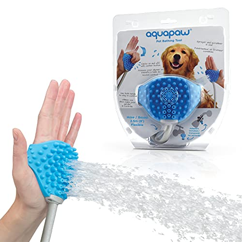 Aquapaw Original Pet Bathing Tool – Sprayer and Scrubber in One – for Grooming Dogs and Cats – Indoor/Outdoor Use – Includes Adapters for Shower and Garden Hose – One Size Fits All – Easy to Install