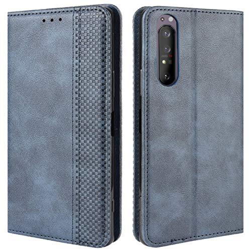 HualuBro Sony Xperia 1 II Case, Retro PU Leather Full Body Shockproof