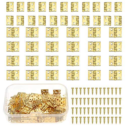 ManLee 100pz Mini Bisagras Pequeña Manualidades Bisagras de Gabinete Bisagras de Tope Retro Conectores de Bisagra Plegable de Latón Bisagras de Cobre para DIY Casas de Muñecas con Tornillos 10x8mm
