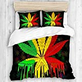 ALLMILL Funda Nórdica De Microfibra,Reggae Rasta Marihuana Leaf Weed,Juego De Ropa De Cama De 3 Piezas (1 Funda De Edredón 140 * 200cm + 2 Fundas De Almohada 50 * 80cm)