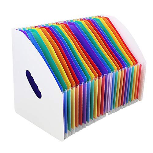 KXF ファイルボックス ドキュメントファイル 24ポケット 書類入れ 自立型 A4 ファイル 雑誌 収納ケース 伸縮仕様 大容量 フォルダー 分類 整理 拡張フォルダ(ホワイト)